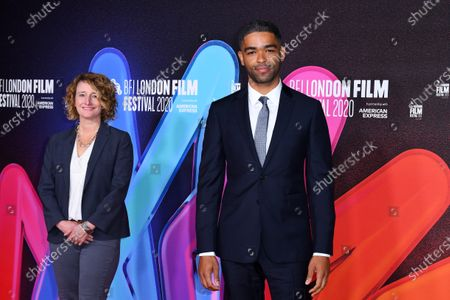 Tricia Tuttle, Artistic Director BFI London Film Festival, and Kingsley Ben-Adir attend a screening of One Night in Miami as part of the BFI London Film Festival, BFI Southbank, London.