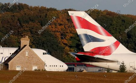 Retired British Airways Boeing 747-400 parked at Cotsworld Airport in Kemble, England, . The retirement of the Jumbo Jet fleet was brought forward as a result of the impact the COVID-19 pandemic had on the airline and the aviation sector