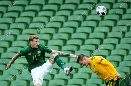 Republic of Ireland vs Wales. Ireland's James McClean and Connor Roberts of Wales