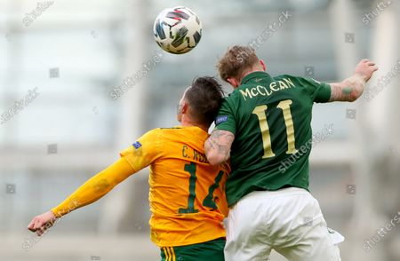 Republic of Ireland vs Wales. Wales' Connor Roberts with James McClean of Ireland