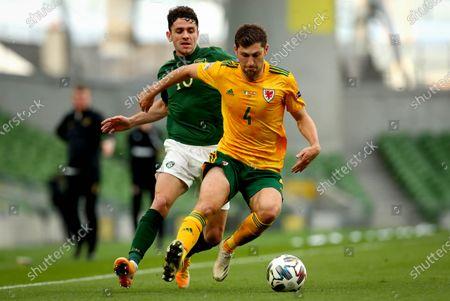 Republic of Ireland vs Wales. Ireland's Robbie Brady and Ben Davies of Wales