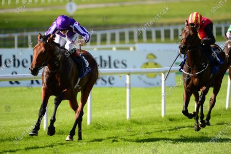 CURRAGH 11-October-2020. KHARTOUM and Colin Keane win for owner Derrick Smith and trainer Aidan O'Brien.