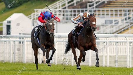 LAND OF WINTER (left, James Doyle) beats CAYIRLI (right) in The Download The tote Placepot App Handicap Goodwood
