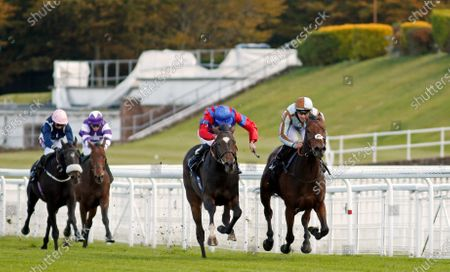 LAND OF WINTER (centre, James Doyle) beats CAYIRLI (right) in The Download The tote Placepot App Handicap Goodwood