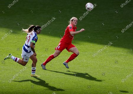 Stock Image of Rebecca Holloway of Birmingham City and Natasha Harding of Reading chase the ball