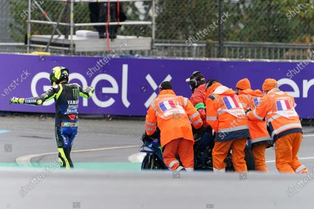 Italian Moto P rider Valentino Rossi of Monster Energy Yamaha Moto GP reacts after falling during the motorcycling Grand Prix of France in Le Mans, France, 11 October 2020.