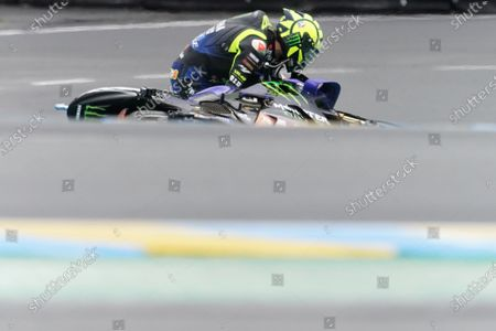 Italian MotoGP rider Valentino Rossi of Monster Energy Yamaha Moto GP reacts after falling during the motorcycling Grand Prix of France in Le Mans, France, 11 October 2020.