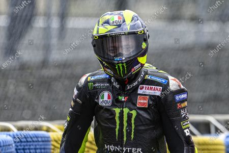 Stock Picture of LE MANS CIRCUIT BUGATTI, FRANCE - OCTOBER 11: Valentino Rossi, Yamaha Factory Racing during the French GP at Le Mans Circuit Bugatti on October 11, 2020 in Le Mans Circuit Bugatti, France. (Photo by Gold and Goose / LAT Images)