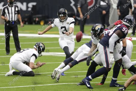 Jacksonville Jaguars kicker Stephen Hauschka (3) misses a field goal attempts against the Houston Texans during the first half of an NFL football game, in Houston