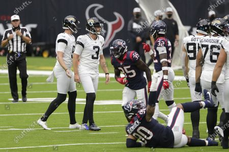 Jacksonville Jaguars kicker Stephen Hauschka (3) reacts after missing a field goal attempt against the Houston Texans during the first half of an NFL football game, in Houston