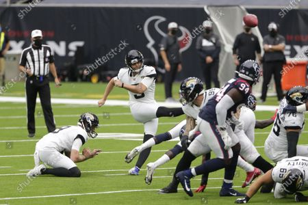 Jacksonville Jaguars kicker Stephen Hauschka (3) misses a field goal attempt against the Houston Texans during the first half of an NFL football game, in Houston