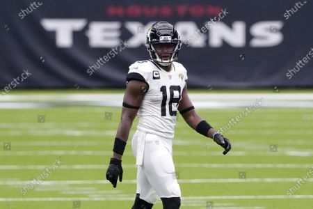 Stock Picture of Jacksonville Jaguars wide receiver Chris Conley (18) during the second half of an NFL football game against the Houston Texans, in Houston