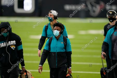 Jacksonville Jaguars running back Chris Thompson (34) is seen during player arrivals before an NFL football game against the Houston Texans, in Houston