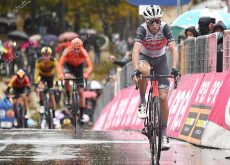 Italian rider Vincenzo Nibali of Trek Segafredo team crosses the finish line during the 9th stage of the 2020 Giro d'Italia cycling race over 208km from San Salvo to Roccaraso, Italy, 11 October 2020.
