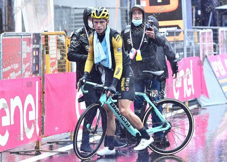 German rider Tony Martin of team Jumbo Visma reacts after crossing the finish line during the 9th stage of the 2020 Giro d'Italia cycling race over 208km from San Salvo to Roccaraso, Italy, 11 October 2020.