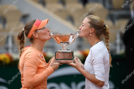 Kristina Mladenovic and Timea Babos during the Women's Doubles Final