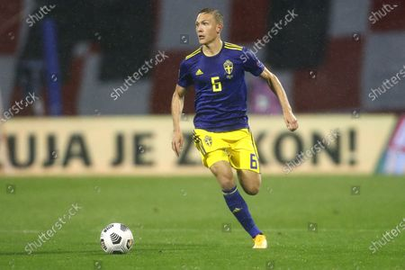 Sweden's Martin Olsson controls the ball during the UEFA Nations League soccer match between Croatia and Sweden at the Maksimir stadium in Zagreb, Croatia