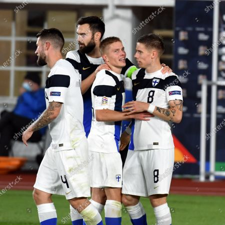 Players of team Finland celebrate opening goal by Robert Taylor (R) during the UEFA Nations League, League B Group 4, football match Finland vs Bulgaria at the Helsinki Olympic Stadium in Helsinki, Finland on October 11, 2020.