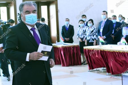 Tajik President Emomali Rahmon is to vote at a polling station in Dushanbe, Tajikistan, Oct. 11, 2020. Tajikistan's presidential election began on Sunday, with five candidates including incumbent President Emomali Rahmon running for the post.