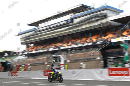 Stock Image of LE MANS CIRCUIT BUGATTI, FRANCE - OCTOBER 11: Valentino Rossi, Yamaha Factory Racing during the French GP at Le Mans Circuit Bugatti on October 11, 2020 in Le Mans Circuit Bugatti, France. (Photo by Gold and Goose / LAT Images)
