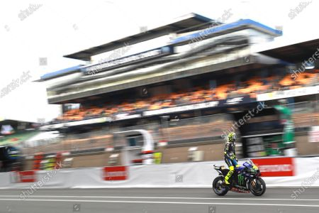 Stock Photo of LE MANS CIRCUIT BUGATTI, FRANCE - OCTOBER 11: Valentino Rossi, Yamaha Factory Racing during the French GP at Le Mans Circuit Bugatti on October 11, 2020 in Le Mans Circuit Bugatti, France. (Photo by Gold and Goose / LAT Images)