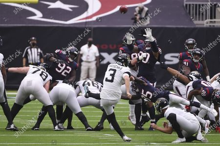 Stock Photo of Jacksonville Jaguars kicker Stephen Hauschka (3) misses a field goal attempts against the Houston Texans during the first half of an NFL football game, in Houston