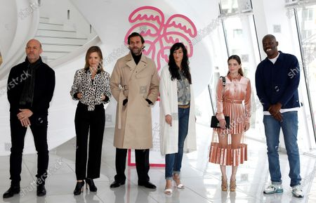 Canneseries jury members, US composer Randy Kerber, French actress Caroline Proust, French actor Gregory Fitoussi, French actress Roxane Mesquida and French actor Jean-Pascal Zadi pose during a photocall at the Cannes Series Festival, in Cannes, France, 11 October 2020. The event runs from 09 to 14 October.