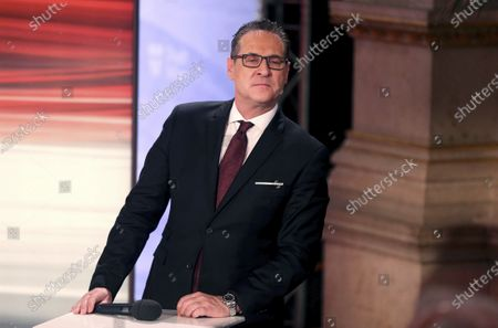 Stock Picture of Heinz-Christian Strache, head of Team HC Strache and former leader of the right-wing Freedom Party, FPOE, looks, at the start of a TV debate for local elections in Vienna, Austria