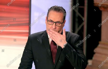 Heinz-Christian Strache, head of Team HC Strache and former leader of the right-wing Freedom Party, FPOE, gestures at the start of a TV debate for local elections in Vienna, Austria