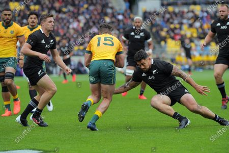 Stock Picture of NZ's Codie Taylor tackles Australia's Tom Banks during the Bledisloe Cup rugby union match between the New Zealand All Blacks and Australia Wallabies at Sky Stadium in Wellington, New Zealand on Sunday, 11 October 2020.
