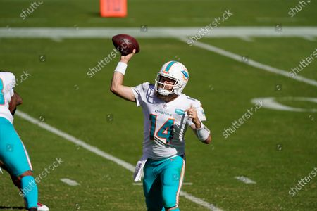 Miami Dolphins quarterback Ryan Fitzpatrick (14) passes against the San Francisco 49ers during the second half of an NFL football game in Santa Clara, Calif