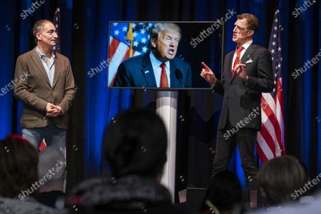 US comedians Pep Rosenfeld (L) and Greg Shapiro at the premiere of the political comedy show Lock Him Up at the Rozentheater in Amsterdam, The Netherlands on 11 October 2020. Comedy club Boom Chicago's show will run through the US presidential election and can also be seen via a live stream.