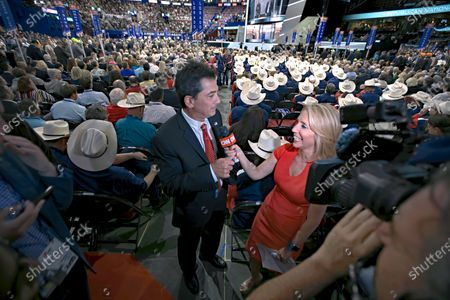 Cleveland, Ohio, USA, July 18, 2016Scott Baio is interviewed at the Republican National Convention by CNN correspondent  Dana Bash on the floor of the Quicken Arena in Cleveland Ohio