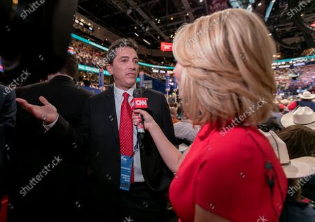 Scott Baio is interviewed at the Republican National Convention by CNN correspondent  Dana Bash on the floor of the Quicken Arena in Cleveland Ohio