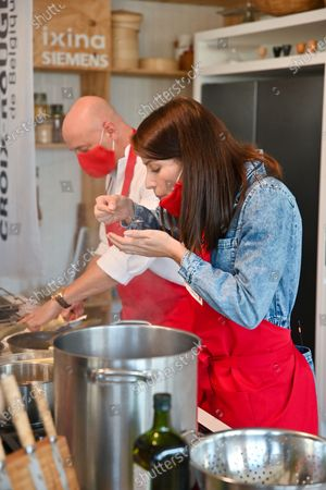 """Stock Photo of Shooting of a special """"Top Chef"""" Red Cross - brought together by the humanitarian organization, two great starred chefs, David Martin (La Paix, 2 stars) and Alexandre Dionisio (Villa in the Sky, 2 stars), along with Mallory Gabsi, Belgian semi-finalist of the last """"Top Chef"""", and Leslie Winandy (""""Leslie in the kitchen"""") will be accompanied by Kid Noize and the host Silent Jill (Jill Vandermeulen) to concoct recipes with products from the social grocery stores of the Red Cross"""