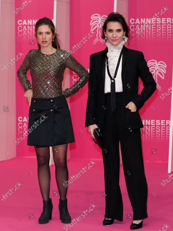 Daphne Patakia and Geraldine Pailhas attend the Pink Carpet : Day Three at the 3rd Canneseries on October 11, 2020 in Cannes, France.