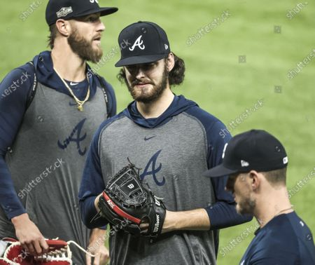 Atlanta Braves starting pitcher Ian Anderson (C) works out during practice for the National League Championship Series at Globe Life Field in Arlington, Texas, USA, 11 October 2020. The Braves will face the Los Angeles Dodgers in the best of seven series beginning 12 October.