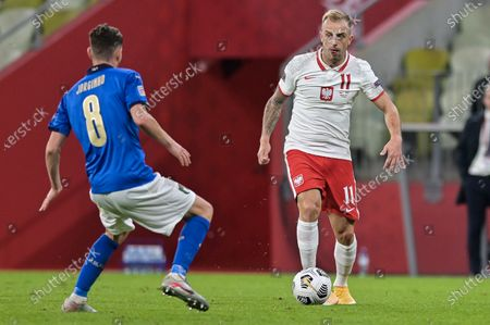 Kamil Grosicki of Poland in action during the UEFA Nations League match between Poland and Italy at the Energa Stadium.(Final score: Poland 0:0 Italy)