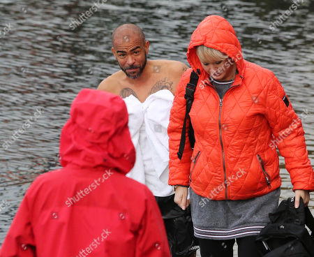 Kieron Dyer who was swimming in Portree harbour, ahead of filming 'Celebrity SAS: Who Dares Wins' on the neighbouring island of Raasay