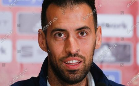 Spain's Sergio Busquets attends a press conference at the Olimpiyskiy Stadium in Kyiv, Ukraine, . Ukraine will play a UEFA Nations League soccer match against Spain on Tuesday