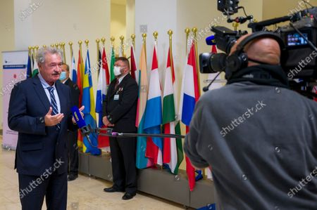 Minister for Foreign Affairs of Luxembourg Jean Asselborn speaks to the press as he arrives to attend an EU Foreign Affairs council in Luxembourg, 12 October 2020.