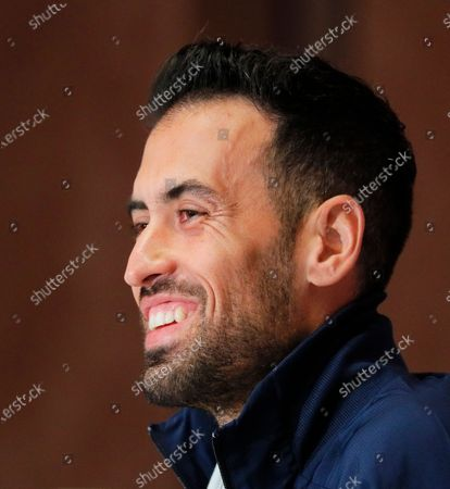Spanish national soccer team player Sergio Busquets smiles during a press conference in Kiev, Ukraine, 12 October 2020. Spain will face Ukraine in their UEFA Nations League soccer match in Kiev on 13 October 2020.
