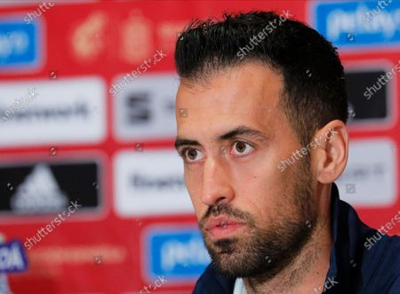 Spanish national soccer team player Sergio Busquets attends a press conference in Kiev, Ukraine, 12 October 2020. Spain will face Ukraine in their UEFA Nations League soccer match in Kiev on 13 October 2020.