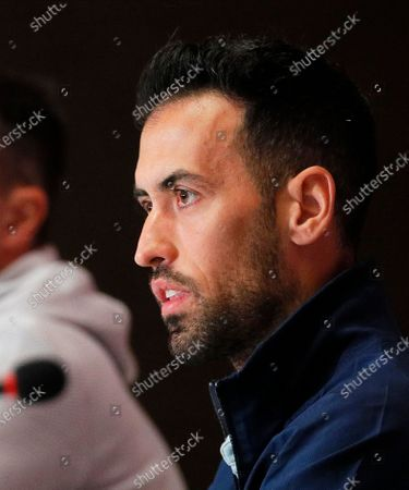 Spanish national soccer team player Sergio Busquets speaks during a press conference in Kiev, Ukraine, 12 October 2020. Spain will face Ukraine in their UEFA Nations League soccer match in Kiev on 13 October 2020.