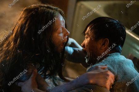 Adria Arjona as Dana/Mermaid and Trieu Tran as Sharko