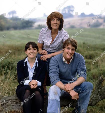 Emmerdale Farm - 1981 Sandie Merrick, as played by Jane Hutcheson ; Patricia Merrick, as played by Helen Weir; and Jackie Merrick, as played by Ian Sharrock