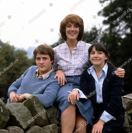 Emmerdale Farm - 1981 Jackie Merrick, as played by Ian Sharrock ; Patricia Merrick, as played by Helen Weir; and Sandie Merrick, as played by Jane Hutcheson