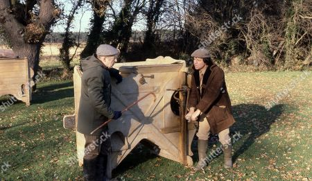 Stock Picture of Emmerdale Farm - Ep 636 Thursday 29th January 1981  Sam, Joe and Henry visit a farm museum and Henry discovers a few home truths. With Sam Pearson, as played by Toke Townley ; Joe Sugden, as played by Frazer Hines.