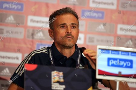 Head coach of the Spain national football team Luis Enrique is seen during the news conference ahead of the UEFA Nations League matchday 4 game against the Ukrainian team, Kyiv, capital of Ukraine.