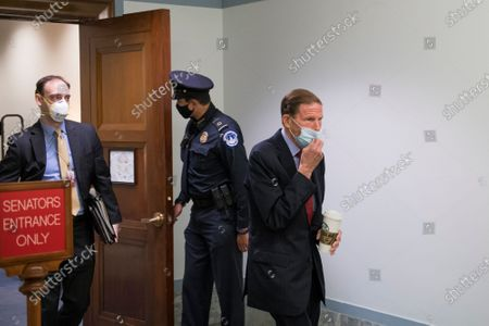 US Senator Richard Blumenthal, D-CT, leaves the hearing room for a short break during the Senate confirmation hearing of Judge Amy Coney Barrett in the Hart Senate Office Building on Capitol Hill in Washington, DC,.